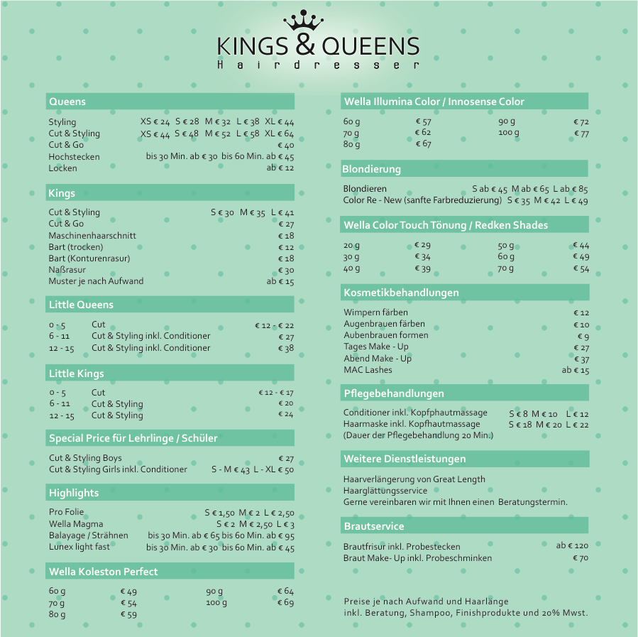 Kings & Queens Preisliste 2017